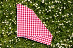 Picnic background. Red checkered picnic cloth on a daisy meadow. Topview.  stock photography