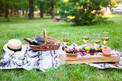 Picnic background with white wine and summer fruits on green grass, summertime party stock images