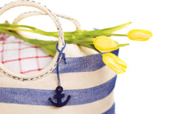 Picnic bag with flowers Stock Photography