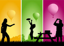 Picnic balloon race Royalty Free Stock Photography