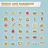 Picnic and barbecue colorful sticker icons. Picnic and barbecue web icons. Set of colorful stickers for summer outdoor recreation theme. Collection of colored royalty free illustration
