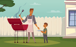 Picnic Barbecue Father Son Cartoon Poster Royalty Free Stock Images