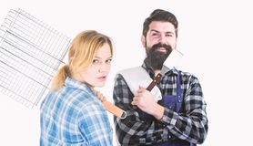 Picnic barbecue. food cooking recipe. Family weekend. Couple in love hold kitchen utensils. Man bearded hipster and girl. Preparation and culinary. Tools for royalty free stock image