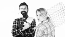 Picnic barbecue. food cooking recipe. Family weekend. Couple in love hold kitchen utensils. Man bearded hipster and girl. Preparation and culinary. Tools for royalty free stock photos