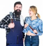 Picnic barbecue. food cooking recipe. Family weekend. Couple in love hold kitchen utensils. Man bearded hipster and girl. Preparation and culinary. Tools for stock photography