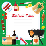 Picnic and Barbecue Food Illustration in a Flat Design. Summer Picnic and Barbecue Food Illustration in a Flat Design Royalty Free Stock Photos