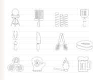 Picnic, barbecue and grill icons. Icon set Stock Photos