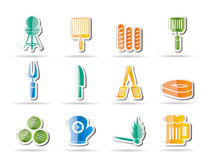Picnic, barbecue and grill icons Stock Images