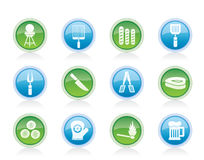 Picnic, barbecue and grill icons Royalty Free Stock Image