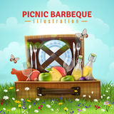 Picnic Barbecue Illustration. Picnic barbecue design with food, drink and tableware in open suitcase laying at flower meadow vector illustration royalty free illustration