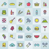 Picnic and barbecue modern colorful icons. Vector. stock illustration