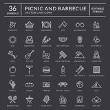 Picnic and barbecue outline icons. Editable stroke. Picnic and barbecue web icon set. White outline symbols with inscriptions. Outdoor recreation elements vector illustration