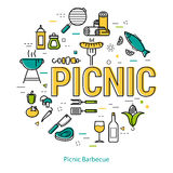 Picnic Barbecue - round linear concept Stock Photo