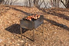 Picnic barbecue. Shish kebab on autumn day royalty free stock images