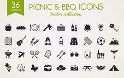 Picnic and barbecue vector icons. Picnic and barbecue web icons. Set of black symbols for a summer outdoor recreation theme. Vector collection of silhouette Royalty Free Stock Image