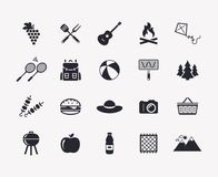Picnic and barbecue vector icons. Picnic and barbecue web icons. Set of black symbols for a summer outdoor recreation theme. Vector collection of silhouette royalty free illustration