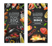 Picnic Barbecue Vertical Banners. With meat on grill vegetables wine sauces on black background isolated vector illustration Royalty Free Stock Photography