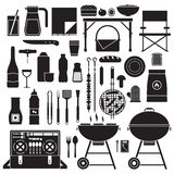Picnic and Barbeque Outline Elements. Picnic and barbeque elements icon set. Family weekend collection with barbecue grill, bbq utensils, grill food and grilling vector illustration