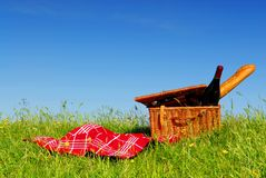 Picnic basket 1. Picnic basket with wine and bread on grass with blue sky background Stock Images