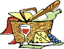 Picnic basket. A illustration of a romantic picnic basket with wine and cheese stock illustration