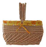 Picnic basket. With yellow and orange decoration Stock Image