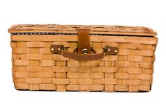 Picnic Basket. An isolated picnic basket on a white background Royalty Free Stock Photo