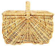 Picnic basket. Isolated wicker picnic basket, lid closed Royalty Free Stock Photo