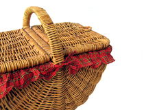 Picnic Basket 2. Photo of Cane woven picnic basket isolated on white background Royalty Free Stock Photography