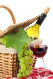 Picnic basket. With fruit bread and wine Royalty Free Stock Image