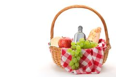 Picnic basket. With fruit bread and wine Stock Photo