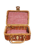 Picnic Basket. An old fashioned picnic basket isolated over white Stock Photo