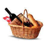 Picnic basket. Basket for picnic with wine, bread, fruits and picnic blanket Royalty Free Stock Photo