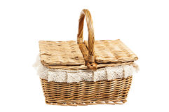 Picnic basket. On white Royalty Free Stock Image