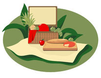 Picnic Basket. Is hand drawn original artwork.  The vector file is in AI-EPS8 format Stock Photos