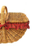 Picnic Basket. Cane Picnic Baset with tartan lining, isolated on white background Stock Photo