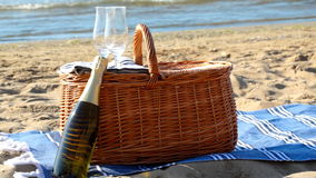 Picnic basket on a beach stock video footage