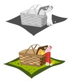 Picnic basket and blanket. A picnic basket and blanket in color and black and white vector illustration