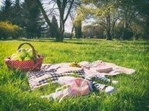 Picnic basket and blanket. A picnic basket and blanket Stock Image