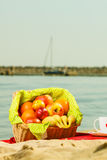 Picnic basket on blanket near sea. Relaxation during summertime concept. Picnic basket with fruit on red blanket near sea Royalty Free Stock Image