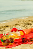 Picnic basket on blanket near sea. Relaxation during summertime concept. Picnic basket with fruit on red blanket near sea Royalty Free Stock Photo