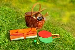 Picnic basket,  blanket,  racquetball in the grass Stock Photo