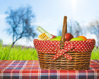 Picnic basket and blanket Royalty Free Stock Images
