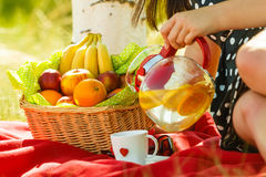 Picnic basket on blanket, woman pouring water into cup Stock Image