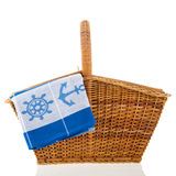 Picnic basket at the boat Stock Images