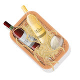 Picnic basket with bottles of red and white wine in straw. Vector illustration Stock Images