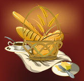 Picnic basket with bread and butter Royalty Free Stock Image