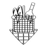Picnic basket with bread and wine. Outline Vector vector illustration