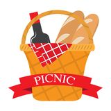 Picnic basket with bread and wine. Vector stock illustration