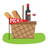 Picnic basket with bread and wine. Vector royalty free illustration