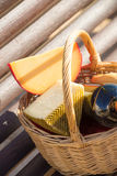 Picnic basket closeup Stock Images